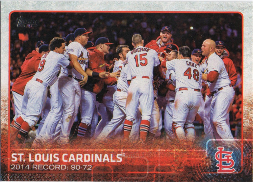 A 2015 Topps card of the St. Louis Cardinals.