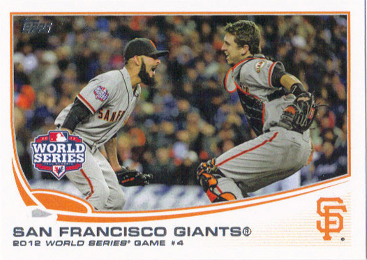 A 2013 Topps card of the Giants.