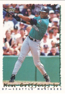 A 1995 Topps card of Ken Griffey Jr.