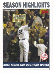 A 2004 Topps card of Roger Clemens.