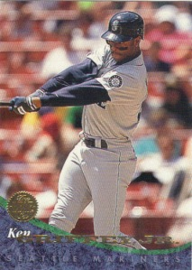 A 1994 Leaf card of Ken Griffey Jr.